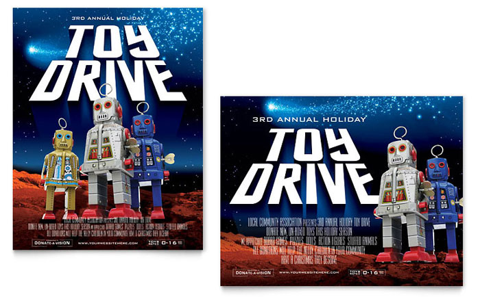 holiday toy drive fundraiser poster template design