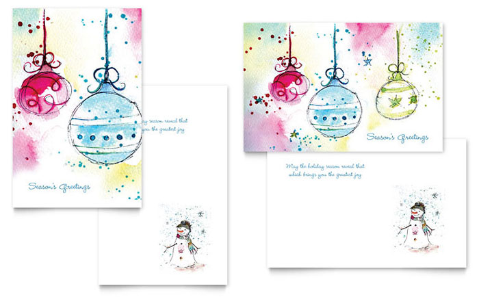 Whimsical Ornaments Greeting Card Template Design - Christmas greeting card template