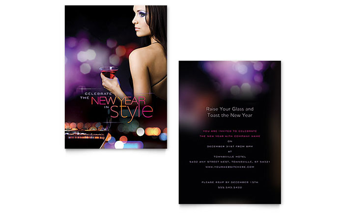 New Year Invitation Template Design Download - InDesign, Illustrator, Word, Publisher, Pages