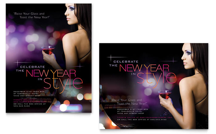 New Year Celebration Poster Template Design
