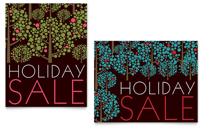 Stylish Holiday Trees Sale Poster Template Design