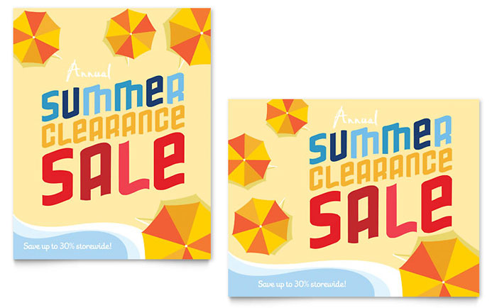 Summer Beach Sale Poster Template Design