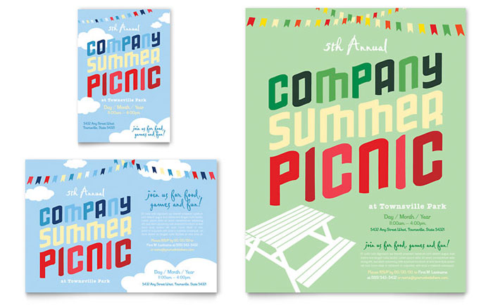 Company Summer Picnic Flyer U0026 Ad Template Design  Company Party Invitation Templates