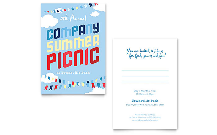 company summer picnic invitation template design