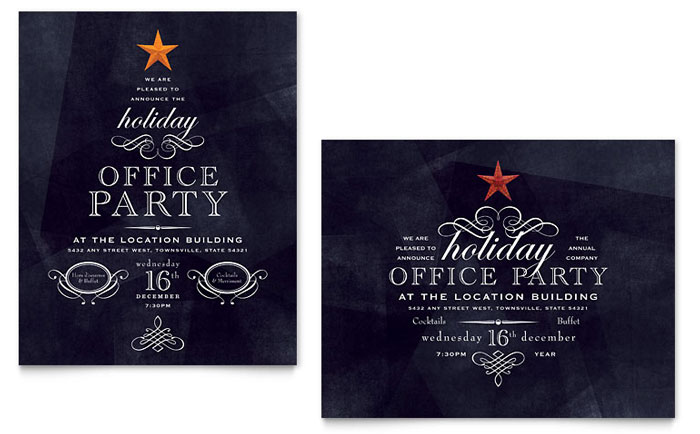 Office Holiday Party Poster Template Design - Employee christmas party invitation template