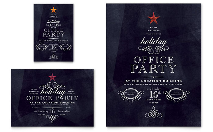 Office Holiday Party Flyer & Ad Template Design