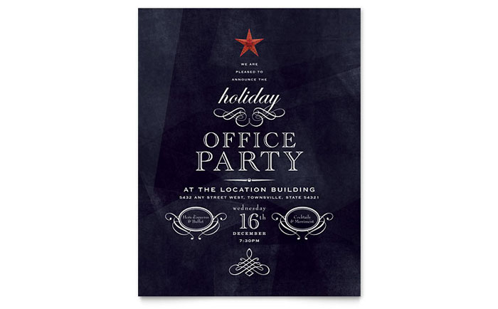 Office Holiday Party Flyer Template Design - Party invitation template: office christmas party invite template