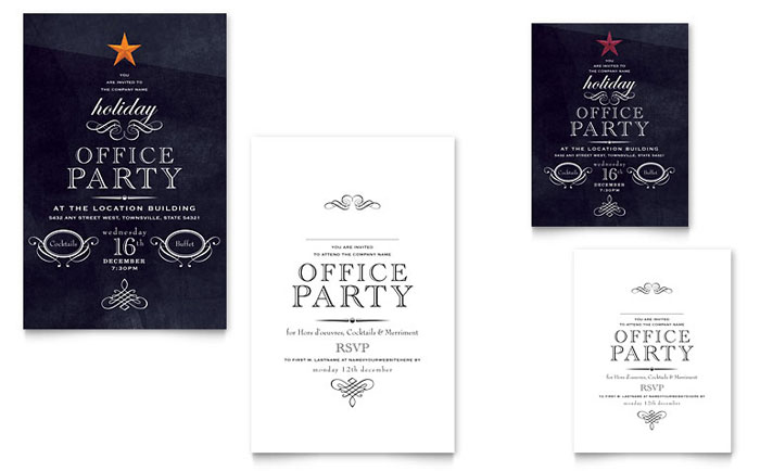 Office holiday party note card template design for Publisher save the date templates