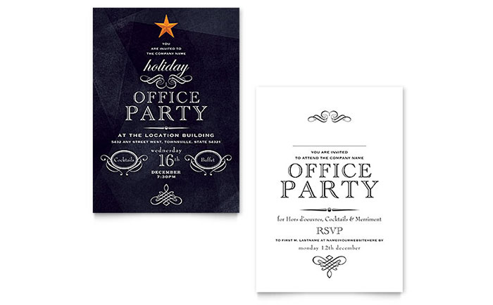 Office Christmas Party Invitation.Office Holiday Party Invitation Template Design