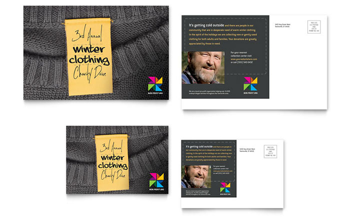 Winter Clothing Drive Postcard Design