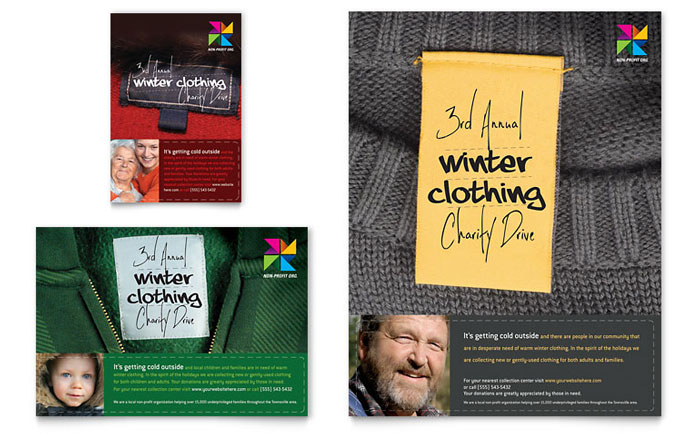 winter clothing drive flyer ad template design