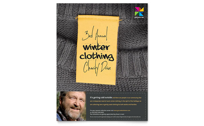Winter Clothing Drive Flyer Template Design Download - InDesign, Illustrator, Word, Publisher, Pages