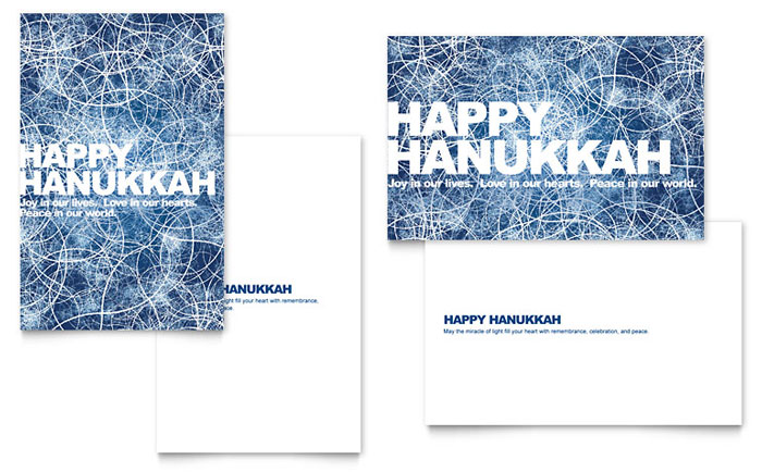 happy hanukkah greeting card template design