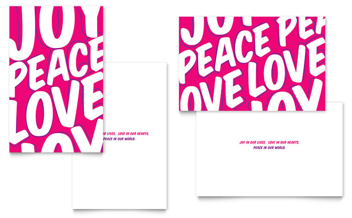 Peace Love Joy Greeting Card Design