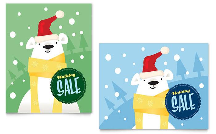 Santa Polar Bear Sale Poster Design