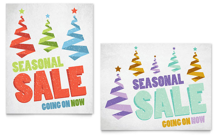 Snow Trees Sale Poster Template Design