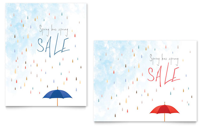 Rainy Day Spring Sale Poster Design Idea