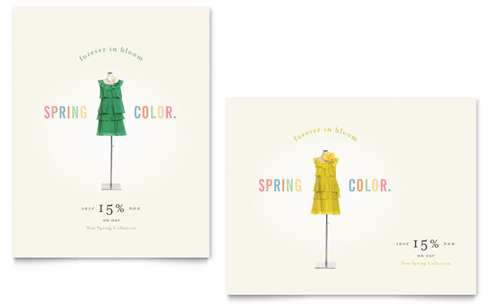 Fashion Clothing Spring Sale Poster Design Idea