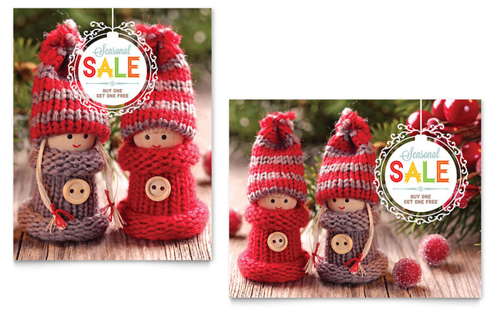Knitted Dolls Sale Poster Template Design Download - InDesign, Illustrator, Word, Publisher, Pages