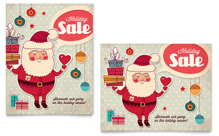 Retro Santa Sale Poster Template Design - InDesign, Illustrator, Word, Publisher, Pages