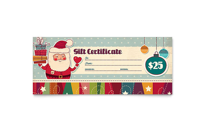 Retro santa gift certificate template design yelopaper Image collections
