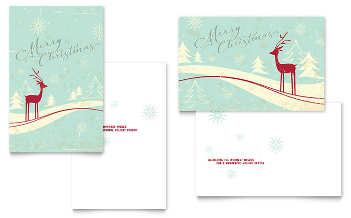 Antique Deer Greeting Card Template Design Download - InDesign, Illustrator, Word, Publisher, Pages