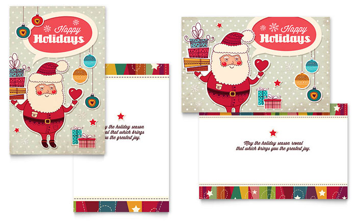 retro santa greeting card template design. Black Bedroom Furniture Sets. Home Design Ideas