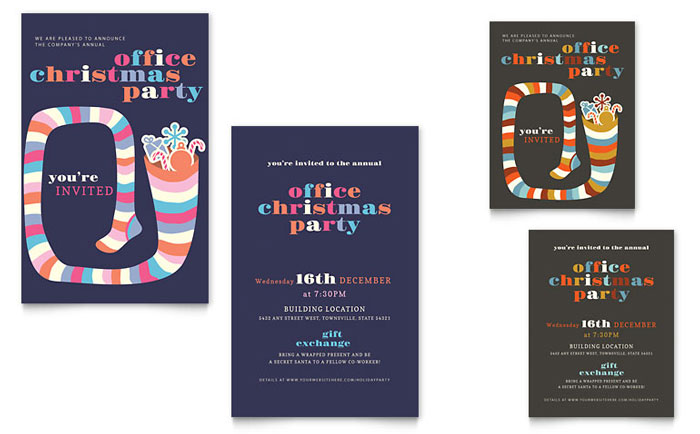 Christmas Party Note Card Template Design Download - InDesign, Illustrator, Word, Publisher, Pages