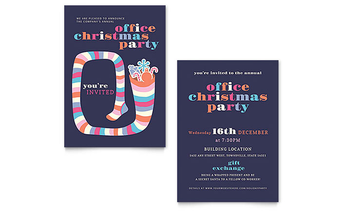 Christmas Party Invitation Template Design Download - InDesign, Illustrator, Word, Publisher, Pages