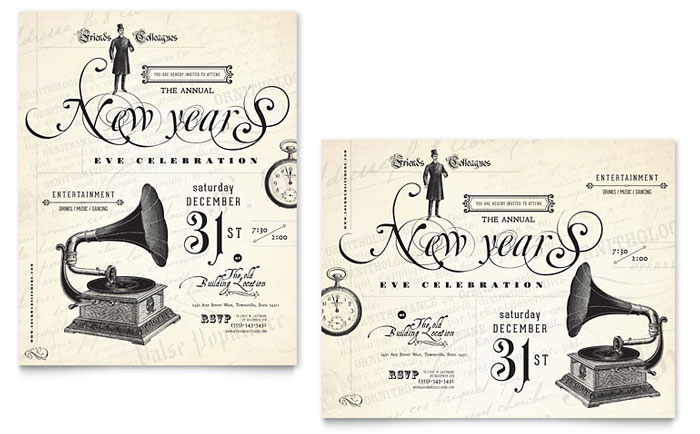 vintage new years party poster template design indesign illustrator word publisher