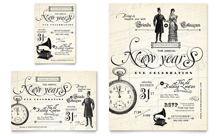 Vintage New Year's Party Flyer & Ad Template Design Download - InDesign, Illustrator, Word, Publisher, Pages
