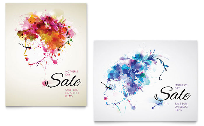 Mother's Day Sale Poster Template Design Download - InDesign, Illustrator, Word, Publisher, Pages