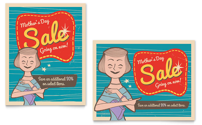 Retro Mother's Day Sale Poster Template Download - InDesign, Illustrator, Word, Publisher, Pages