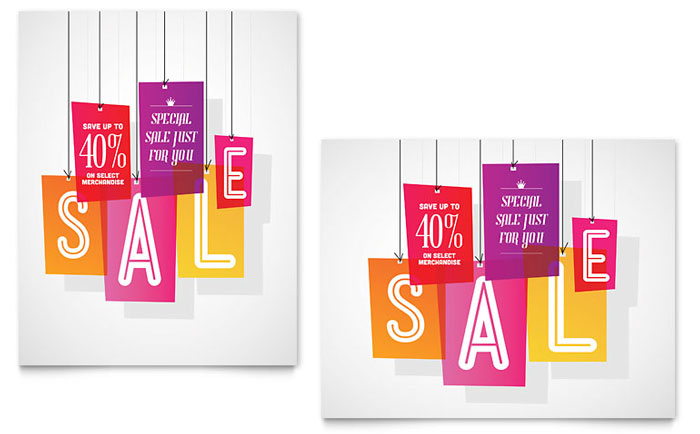 Clearance Tag Sale Poster Template Design Download - InDesign, Illustrator, Word, Publisher, Pages