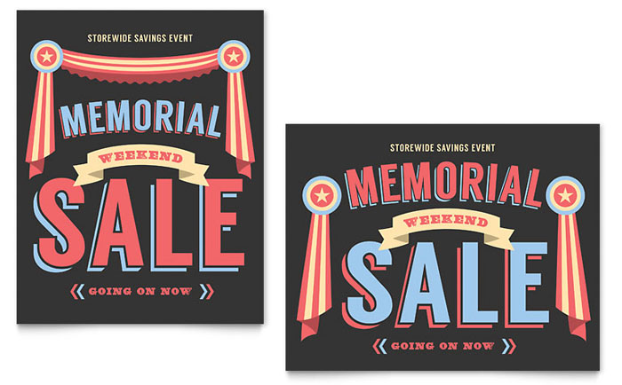 Memorial Day Sale Poster Template Design Download - InDesign, Illustrator, Word, Publisher, Pages