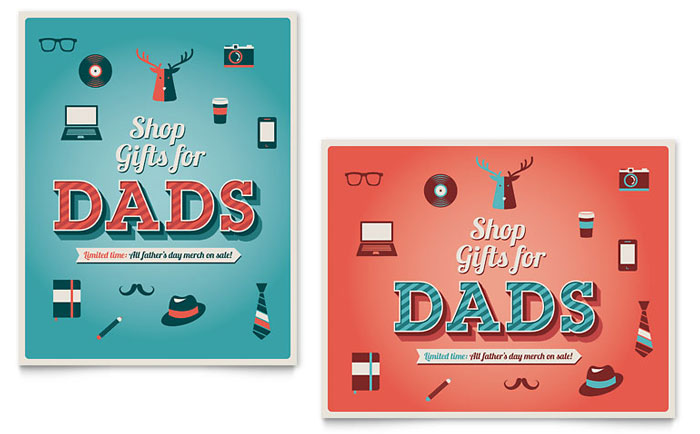 Father's Day Sale Poster Template Design Download - InDesign, Illustrator, Word, Publisher, Pages