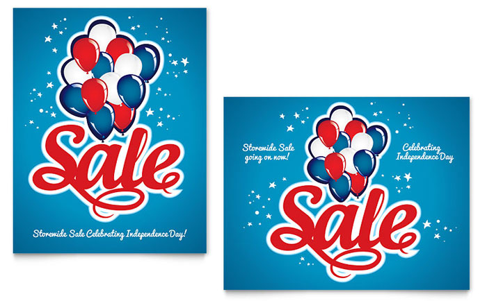 Celebration Balloons Sale Poster Template Design Download - InDesign, Illustrator, Word, Publisher, Pages