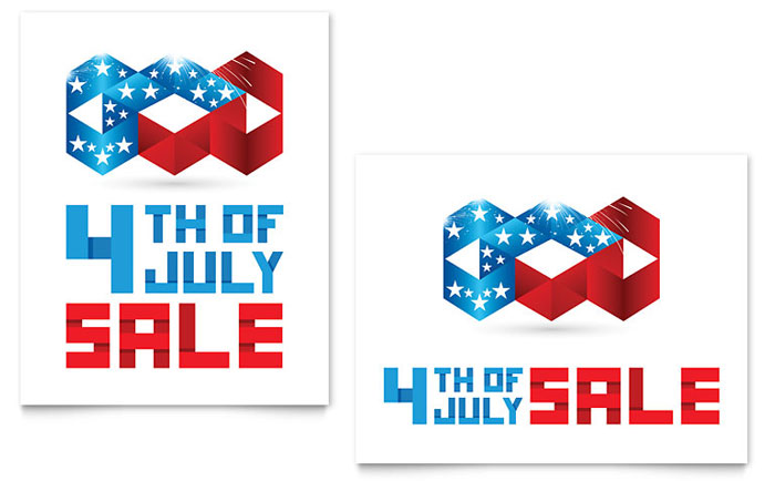 July 4th Patriotic Sale Poster Template Design