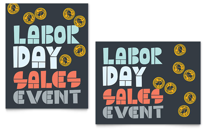 Labor Day Sale Poster Template Design Download - InDesign, Illustrator, Word, Publisher, Pages