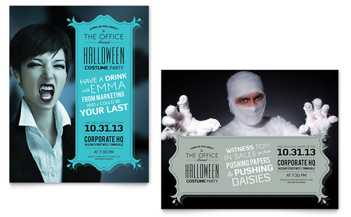 Halloween Costume Party Poster Template Design