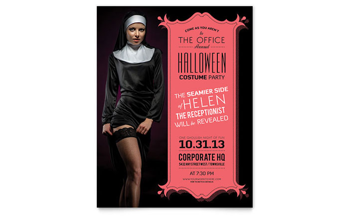 Halloween Costume Party Flyer Template Design Download - InDesign, Illustrator, Word, Publisher, Pages