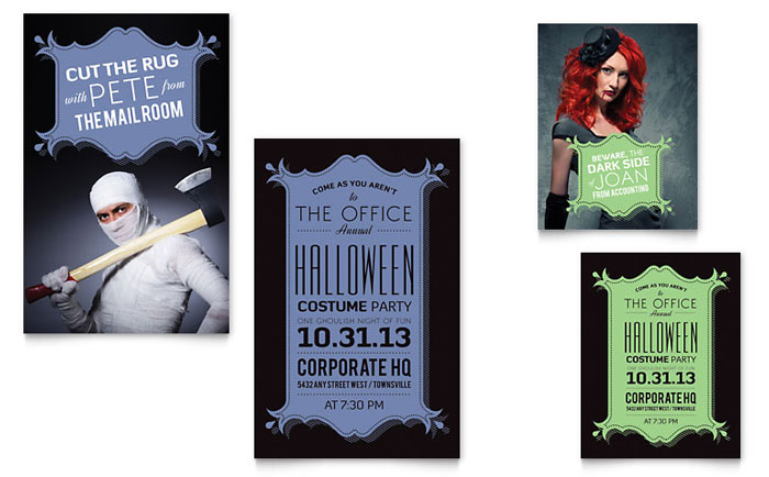 Halloween Costume Party Note Card Template Design Download - InDesign, Illustrator, Word, Publisher, Pages