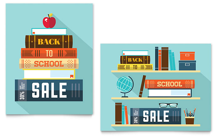 Back to School Books Sale Poster Example