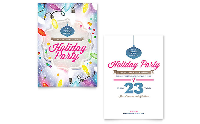 Holiday Party Invitation Template Design Download - InDesign, Illustrator, Word, Publisher, Pages