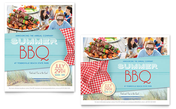 Summer BBQ Poster Template Design Download - InDesign, Illustrator, Word, Publisher, Pages