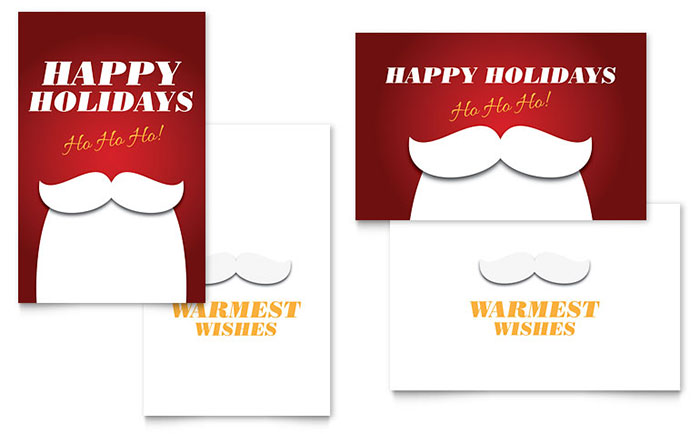 Ho Ho Ho Greeting Card Template Design - InDesign, Illustrator, Word, Publisher, Pages