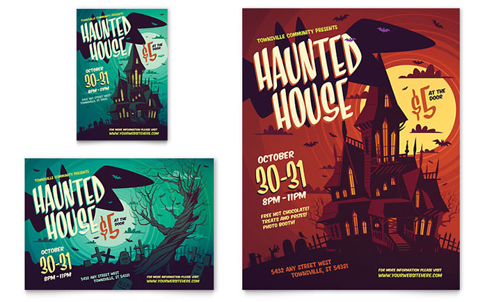 haunted house flyer  u0026 ad template design