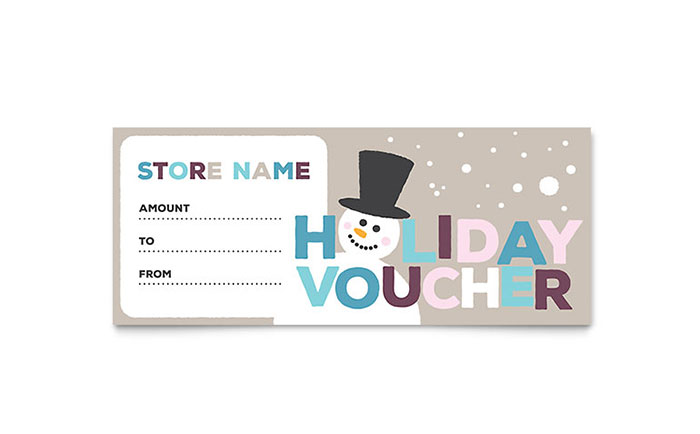 Jolly Holidays Gift Certificate Template Design Download - InDesign, Illustrator, Word, Publisher, Pages