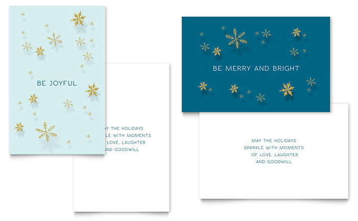 Golden Snowflakes Greeting Card Template Design Download - InDesign, Illustrator, Word, Publisher, Pages