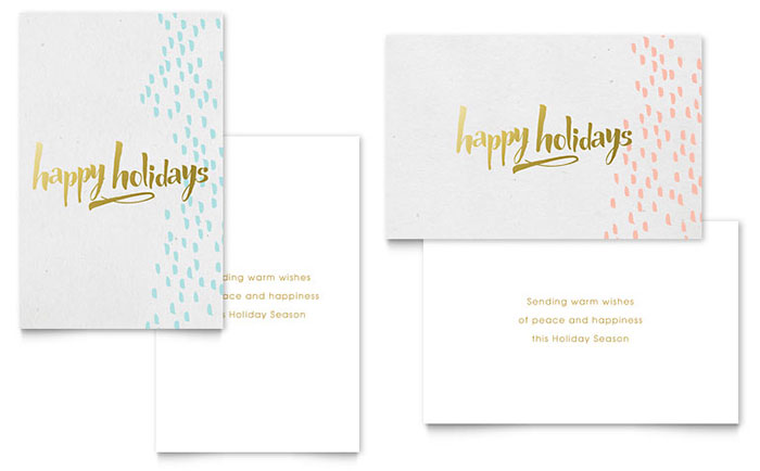 Elegant Gold Foil Greeting Card Template Design Download - InDesign, Illustrator, Word, Publisher, Pages